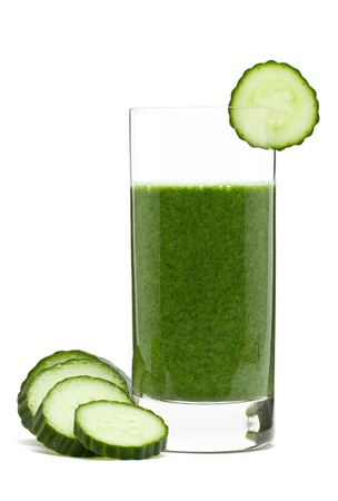 fresh spinach: Delicious vegetable smoothie from spinach cucumber and banana
