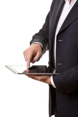 Kaufmann mit modernen TabletPC isoliert auf weiss