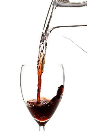 parable: Water turns into wine concept - isolated on white background Stock Photo