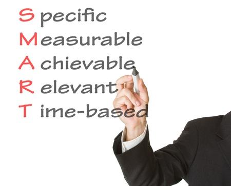 gestion del tiempo: Concepto de meta inteligente para establecer objetivos de gesti�n Foto de archivo