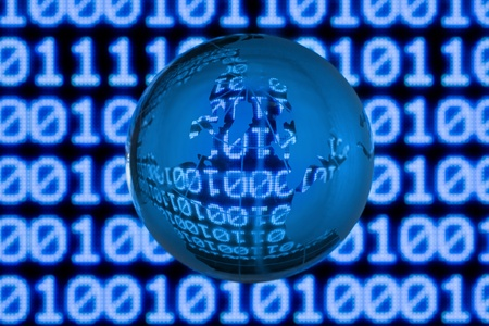Glass globe in front of binary code Stock Photo - 9852252