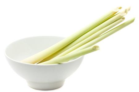 lemongrass: Bundle of fresh organic lemongrass over white background