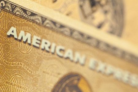 München, Deutschland - 8. Juli 2011: Close up of eine American Express Gold Kreditkarte. American Express entfallen fast ein Viertel der alle Kreditkarten-Transaktionen in den USA. Editorial
