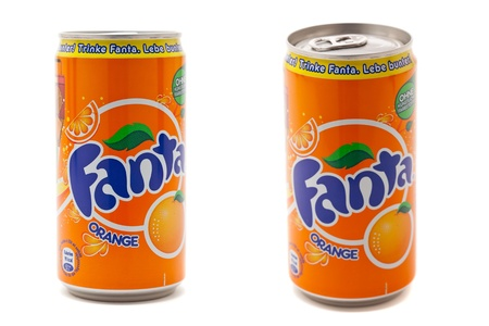 Munich, Germany - August 20th, 2011: Coca-Cola Fanta Orange 0.25L can; A year after its launch Coca-Cola redesignes their successfull smaller can.