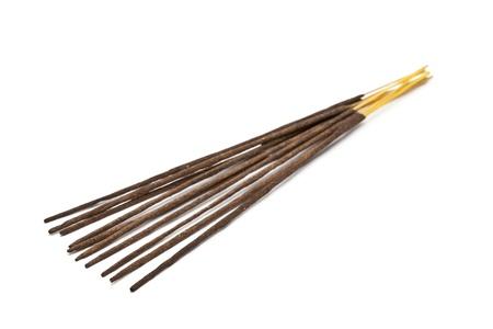 unused: Unused fragrant incense sticks over white background Stock Photo