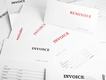 numerous: Background filled with numerous invoice and reminder letters  Stock Photo