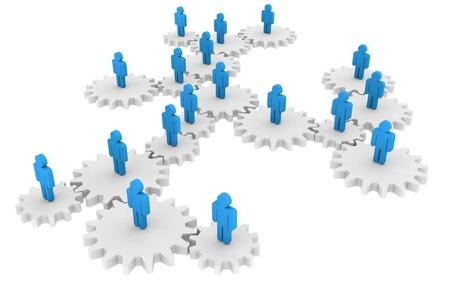 relaciones humanas: Gente abstracta sobre ruedas de engranaje - concepto de redes social