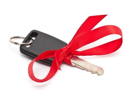 car key: Car key with red bow as a present