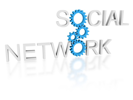 Words social and network connected by cogwheels - social networking concept photo