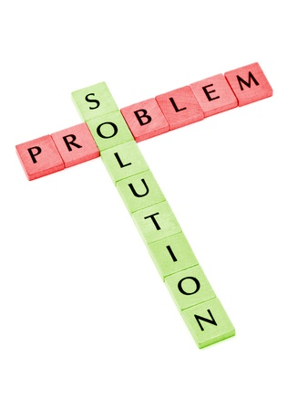 Building solution from problem over white background Stock Photo
