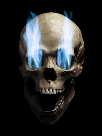 Skull with blue flaming eye sockets over white background