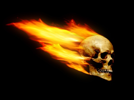 Skull with flame trail over black background photo