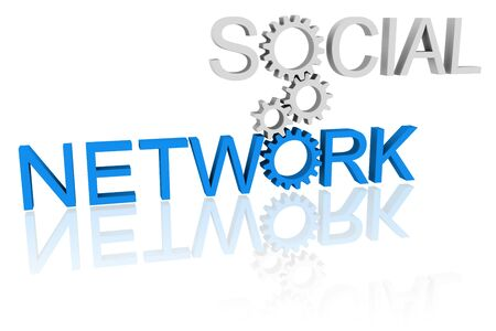 social networking: Words social and network connected by cogwheels - social networking concept