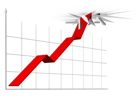 breaking through: Illustration of rising curve going through the ceiling Stock Photo