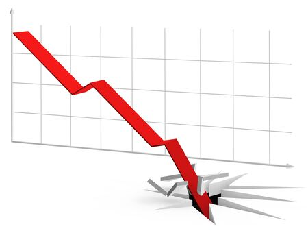 and decline: Illustration of curve falling so fast it crashes through the floor