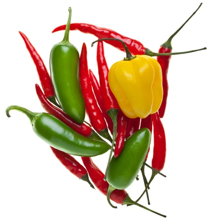 Heap of Rawit, Habanero and Jalapeno chilis isolated on white background Stock Photo - 11012508