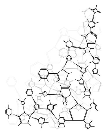Zusammenfassung chemisches Molekül Formel Form isoliert auf weißem Hintergrund Standard-Bild