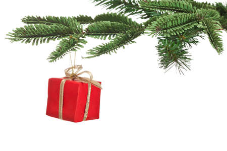 Red christmas present on fir branch isolated on white background photo
