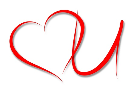 Red heart and U symbolizing Love You on white background - wedding or Valentine photo