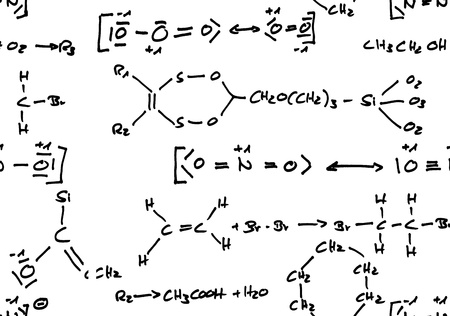 reaction: Handwritten seamless repeatable chemical formulas isolated on white background