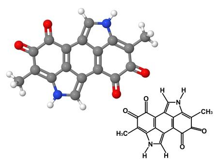 melanin: Melanin molecule with chemical formula isolated on white background Stock Photo