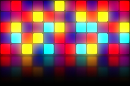 Colorful 80s club dancefloor background with glowing light grid photo