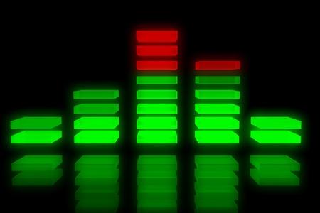 levels: Sound equalizer achtergrond met reflectie op zwarte achtergrond