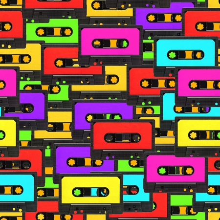 retro styled: Colorful 80s analogue audio tape background repeatable pattern Stock Photo