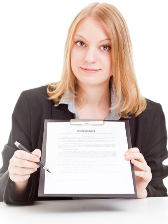 autograph: Young businesswoman points at signature line on contract - isolated on white background