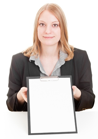 Young businesswoman holding clipboard with copyspace isolated on white background photo