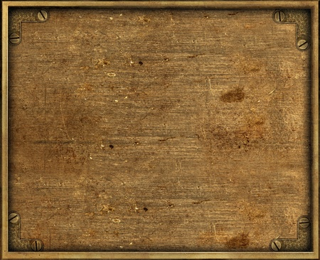 Yellow grunge brass background plate with frame and screws Foto de archivo