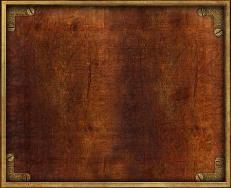 Weinlese-Holzplatte mit Messingrahmen und Schrauben Standard-Bild
