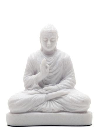stone buddha: White stone buddha statue isolated on white background