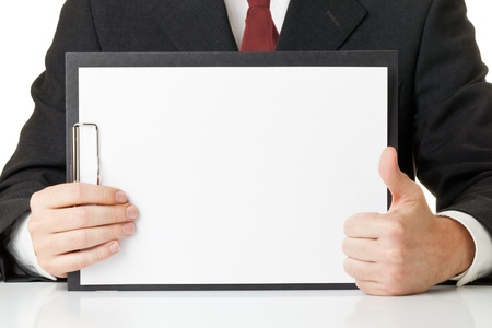 positivism: Businessman holding thumb up in front of blank clipboard with copy space - positivism or success concept