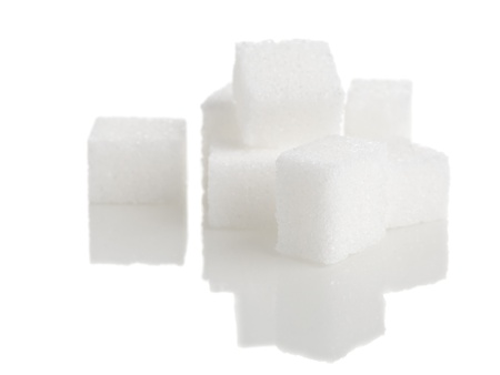 sugar cube: Heap of white sugar cubes over white background