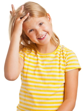 yellow shirt: Happy young girl in yellow shirt isolated on white background