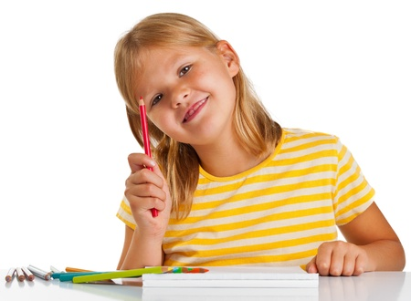 Young girl drawing with pencils isolated on white background Stock Photo - 14615536