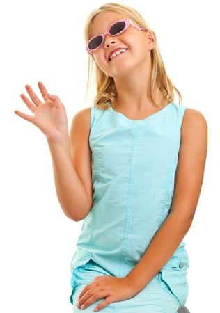 ladylike: Young girl lady-like with sunglassses isolated on white background