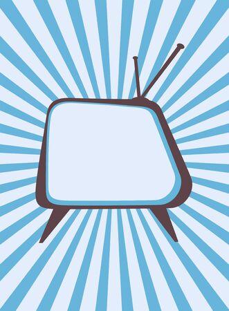 Retro television set with sunburst background photo