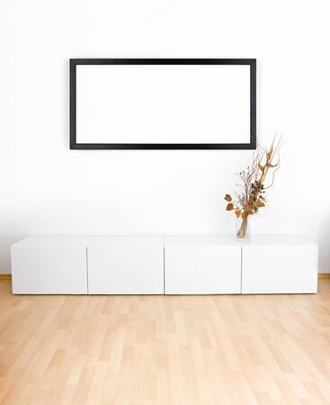 white room: Generic modern room with shelves, wooden floor and empty black frame Stock Photo
