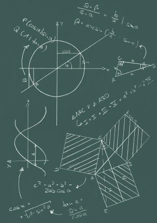 trigonometry: Math formulas and graphics on blackboard Stock Photo