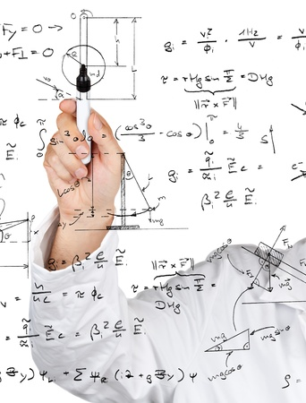 Research scientist writing physics diagrams and formulas with pen on transparent board photo