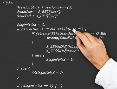 php: Teacher or scientist writing PHP source code from webpage on blackboard