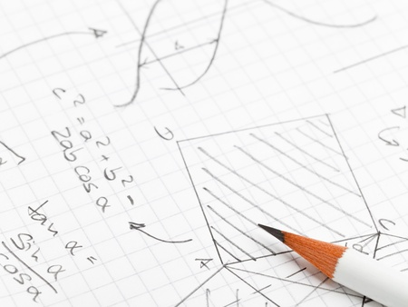 trigonometry: Mathematical notes about geometry and trigonometry with pencil on note paper Stock Photo