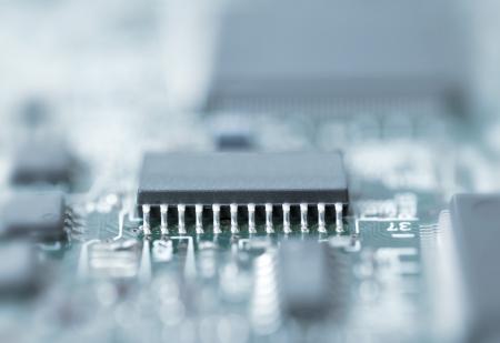 silicio: Cerrar Azul tonificado microchip disparó con poca profundidad de campo Foto de archivo