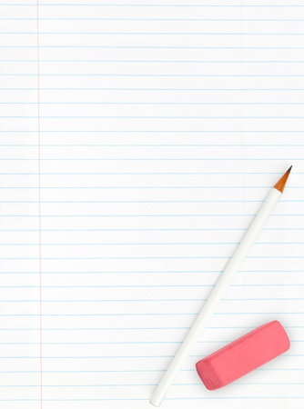 single line: Blank lined sheet of paper from a notebook with pencil and eraser isolated on white background