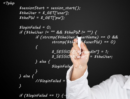 Teacher or scientist writing PHP source code from webpage on blackboard