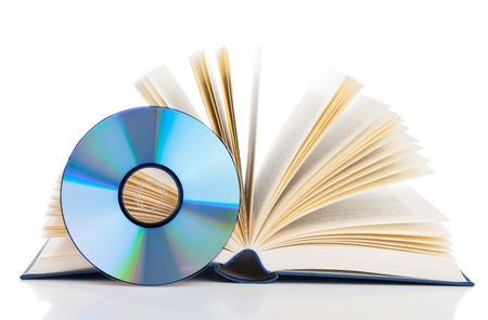 electronic book: Book with compact disc over white background - e-book or digital storage concept