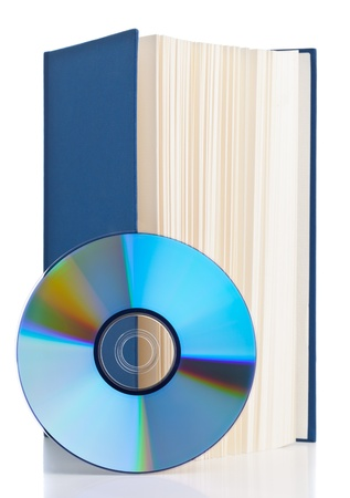Book with compact disc over white background - e-book or digital storage concept Stock Photo - 18296617