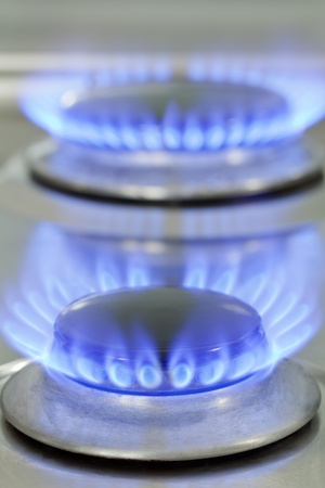 burner: Close up of natural gas stove flames burning Stock Photo
